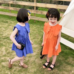 儿童纯棉大翻领连衣裙2019年夏韩版洋气时尚潮女童装收腰无袖裙子