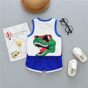 男宝宝夏装套装 女童夏季无袖背心短裤婴儿童装纯棉0-1-2-3-4岁潮