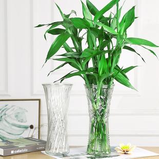 高款圆形玻璃花瓶透明大号水培富贵竹干花百合六角瓶家居摆件客厅