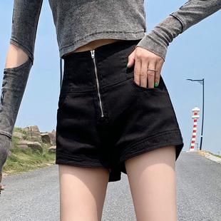 黑色牛仔短裤女2020新款高腰a字修身显瘦春夏百搭性感外穿热裤潮