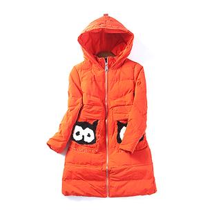 13200清仓冬季新款女装韩版可爱猫头鹰中长款棉衣连帽棉袄5月18日