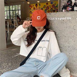 韩版ins网红短款长袖t恤