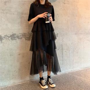春夏装很仙的法国小众连衣裙女韩版宽松短袖拼接网纱不规则蛋糕裙