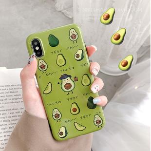 绿色牛油果苹果X手机壳iphone xs max男女款xr可爱6/7/8plus软胶