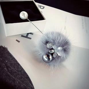 毛绒圆球胸针小花朵灰色珠子大衣毛衣衣服胸针装饰别针