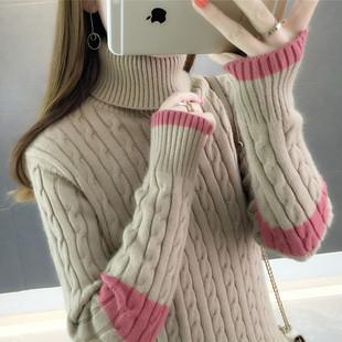 高领毛衣女加厚套头2018秋冬新款保暖宽松长袖内搭打底针织衫女潮