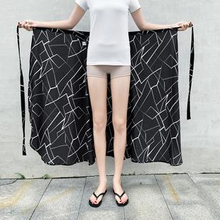 2019夏季新款系带防晒碎花雪纺长裙一片式半身裙女中长款高腰裹裙
