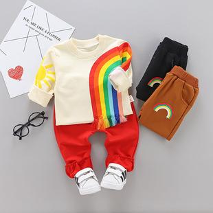 童装2019秋装新款长袖套装男女宝宝彩虹套装儿童卫衣两件套热卖款