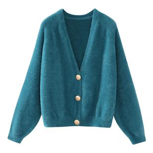 秋季新款韩版宽松短款仿水貂绒开衫女针织衫慵懒风灯笼袖毛衣外套