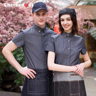 服务员工作服短袖男女酒店制服西餐厅咖啡厅店餐饮长袖衬衫夏装女