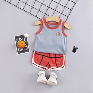 男童寶寶跨欄無袖小背心小童孩嬰兒童裝純棉夏裝套裝夏季外穿薄款