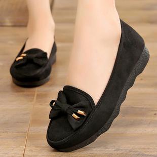 黑色防滑平底老北京布鞋秋季新款一脚蹬女鞋