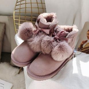雪地靴女短靴加绒2019新款秋冬韩版时尚真皮棉鞋毛球短筒保暖靴子