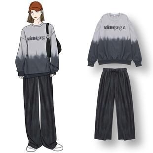 DAFA 韩版不规则晕染重叠字母落肩宽松套头加绒卫衣 个性休闲裤