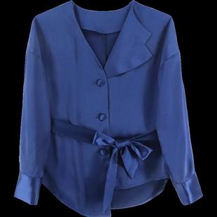 衬衣女2019新款设计感不对称半翻领上衣长袖收腰蝴蝶结藏蓝色衬衫
