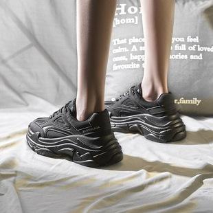 黑色加绒老爹女鞋秋季2019新款百搭秋鞋冬季运动鞋子网红ins潮鞋