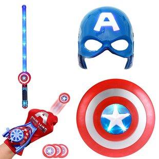 万圣节儿童面具美国队长盾牌玩具头盔卡通动漫发光声光COS男披风