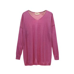 秋冬套头打底衫女长袖v领t恤韩版宽松大码纯色中长款针织衫薄毛衣