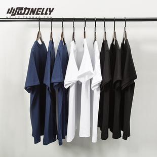 复古百搭纯棉纯色宽松短袖打底衫T恤白色男女体恤潮短袖衣服丅