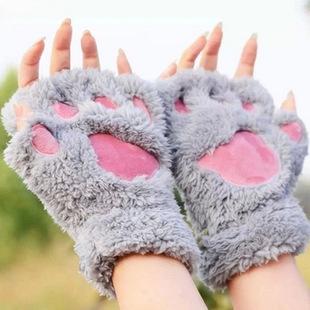 冬季可爱卡通猫咪女生露指猫爪保暖手套 加厚绒毛熊掌半指手套