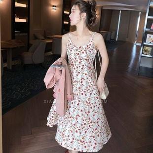 碎花吊带连衣裙女2020新款春夏季仿冰丝A字裙韩版中长裙修身流行