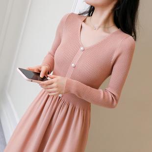 秋冬新款针织连衣裙女套头衫V领韩版修身过膝长款打底长袖毛衣裙