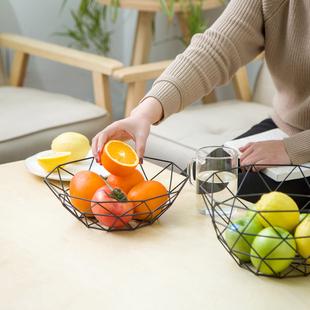 铁艺果盘创意现代客厅ins北欧家居水果蔬菜零食欧式家用收纳篮子