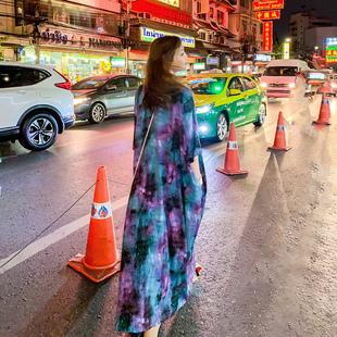 舞花肉自制V7泰国旅行晕染棉绸大袍子宽松大码超长度假复古连衣裙