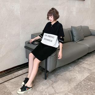 欧洲站夏季女装2020新款宽松中长款裙子韩版印花短袖日系连衣裙女