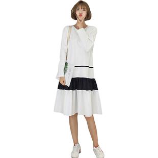 秋冬装大码胖MM长袖连衣裙2019新款圆领T恤裙白色宽松显瘦长裙子