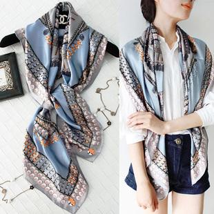 藍灰色珍珠真絲桑蠶絲大方巾女士圍巾春秋防曬披肩絲巾夏季薄款