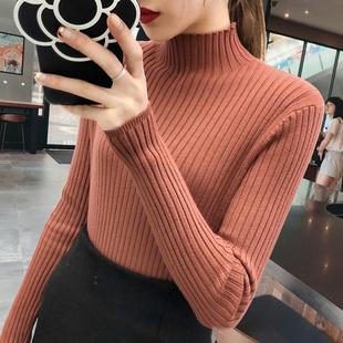 打底毛衣女2018新款半高领套头针织衫秋冬修身长袖加厚打底衫黑色