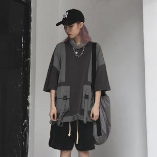 (MHV)MARFES的诡异行为夏季灰色潮流绑带飘带战术口袋宽松短袖男