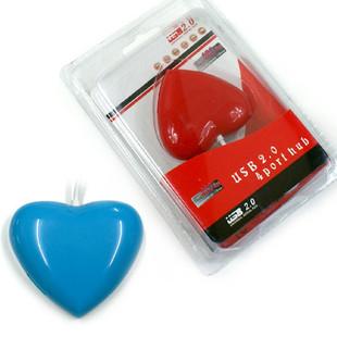 爱心USB2.0集线器四口扩展器 心形集线器usb分线器
