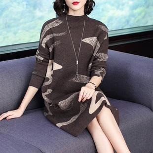貴夫人連衣裙女2019秋冬新款大碼寬松媽媽打底針織中長款毛衣裙子