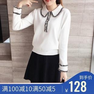 2019秋冬季女式士小香风时尚休闲套装长袖毛衣短裙针织两件套装裙