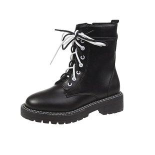 网红同款鞋秋冬季马丁靴女透气帅气厚底工装黑色英伦风机车短靴子