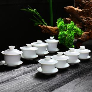 德化高白瓷茶具套装家用简约盖碗茶杯功夫茶具陶瓷泡茶碗logo定制
