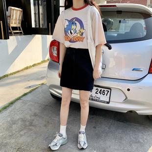 YUKI小树家 百搭毛边黑色蓝色牛仔半身裙短裙A字裙韩国新款 q0215