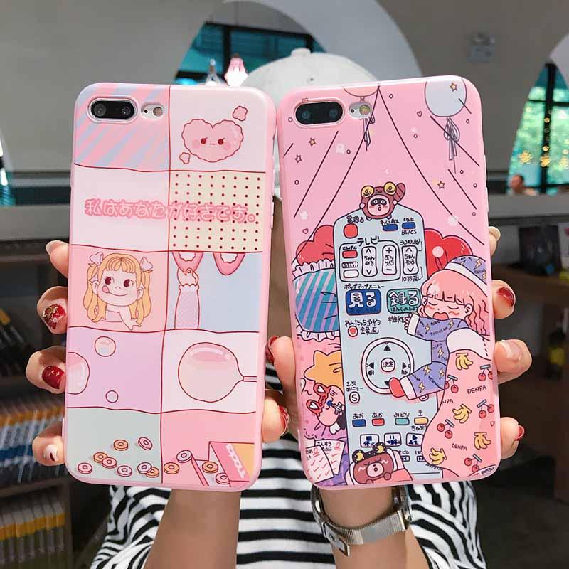 可爱吹泡泡女孩苹果x手机壳7/8Plus手机壳iPhoneXS Max/XR女款6sp