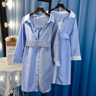 2019早春新款女装显瘦收腰气质拼接条纹假两件连衣裙女神范衬衫裙