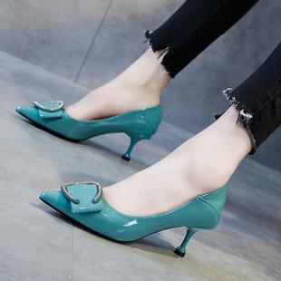 小清新职业高跟鞋细跟5cm少女猫跟2019新款百搭软皮舒适单鞋女春