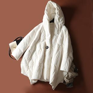 不撞衫设计师款2019反季女款不规则几何型中长款宽松羽绒服Y19362