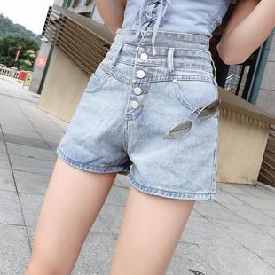 高腰牛仔短裤女2020夏季新款韩版显瘦排扣收腹宽松阔腿a字热裤潮