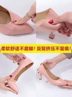 细跟高跟鞋女尖头2018新款3-5cm秋冬复古风杏色春季舒适皮面女鞋