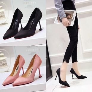 女单鞋甜美亮面港风高跟鞋女细跟5cm性感百搭优雅正装皮面新款-潮