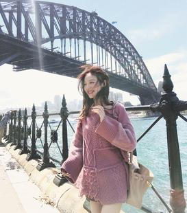 美美的夏夏 宽松拼接毛衣女装秋冬新款中长款长袖针织衫拼接上衣