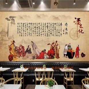 傳統複古酒文化釀酒廠裝飾畫酒莊背景牆紙牆壁布酒業酒館壁紙壁畫