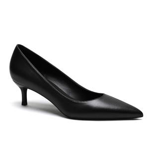 2019秋季黑色大码职业工作鞋3cm5cm尖头细跟单鞋软皮舒适高跟鞋女