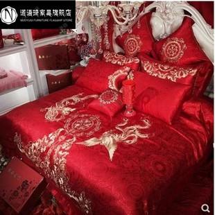 婚庆四件套大红色床单全棉龙凤绣花喜被套贡缎婚房提花结婚床上用
